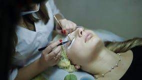 Το cosmetologist γυναικών αυξάνει eyelashes το όμορφο κορίτσι στο ινστιτούτο καλλονής Κινηματογράφηση σε πρώτο πλάνο απόθεμα βίντεο