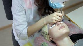 Το cosmetologist εκτελεί eyelash τις επεκτάσεις στον πελάτη Ενημερώστε τα eyelashes φιλμ μικρού μήκους