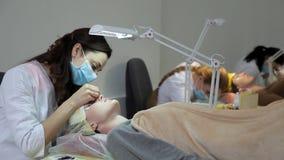 Το cosmetologist εκτελεί eyelash τις επεκτάσεις στον πελάτη Ενημερώστε τα eyelashes απόθεμα βίντεο