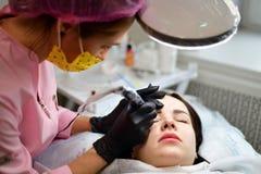 Το Cosmetologist κάνει τη φροντίδα δέρματος υλικού για το πρόσωπο κοριτσιών ` s στοκ φωτογραφίες