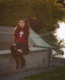 Το Cosplayer έντυσε ως χαρακτήρες Rin Tohsaka Στοκ Φωτογραφίες