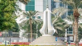 Το dallah timelapse ή μνημείο δοχείων καφέ που αντιπροσωπεύει την υποδοχή σε Doha Corniche απόθεμα βίντεο