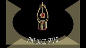 Το deco τέχνης ζωντάνεψε το έμβλημα με το antiquarian χρυσό filigree κόσμημα, διαφημιστικός για το κατάστημα κοσμήματος απεικόνιση αποθεμάτων