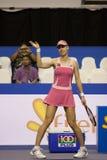 Το Dementieva κερδίζει την επίδειξη δύναμης της αντισφαίρισης πρωτοπόρων στοκ εικόνα με δικαίωμα ελεύθερης χρήσης