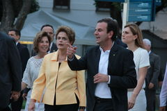 Το Dilma Rousseff παρευρίσκεται στο άνοιγμα του μουσείου του αύριο στο Ρίο Στοκ εικόνες με δικαίωμα ελεύθερης χρήσης