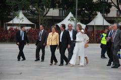 Το Dilma Rousseff παρευρίσκεται στο άνοιγμα του μουσείου του αύριο στο Ρίο Στοκ εικόνα με δικαίωμα ελεύθερης χρήσης