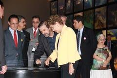 Το Dilma Rousseff παρευρίσκεται στο άνοιγμα του μουσείου του αύριο στο Ρίο Στοκ Εικόνες