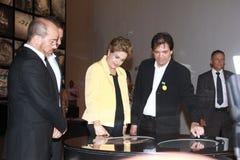 Το Dilma Rousseff παρευρίσκεται στο άνοιγμα του μουσείου του αύριο στο Ρίο Στοκ Εικόνα