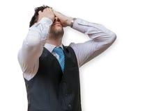 Το Displeased και ο απογοητευμένος επιχειρηματίας καλύπτουν το πρόσωπό του Στοκ Φωτογραφίες