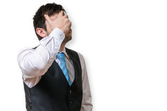 Το Displeased και ο απογοητευμένος επιχειρηματίας καλύπτουν το πρόσωπό του Στοκ Φωτογραφία