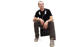 το DJ κάθεται Στοκ Εικόνες