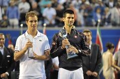 Το Djokovic & Gasquet finalists Rogers κοιλαίνουν το 2012 (41) στοκ εικόνα με δικαίωμα ελεύθερης χρήσης