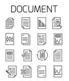 Το Documentl αφορούσε το διανυσματικό σύνολο εικονιδίων Στοκ Φωτογραφίες