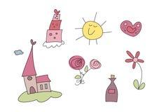 Το Doodle έθεσε: Γάμος Στοκ φωτογραφία με δικαίωμα ελεύθερης χρήσης