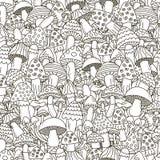 Το Doodle ξεφυτρώνει άνευ ραφής σχέδιο fractal λουλουδιών σχεδίου καρτών ανασκόπησης μαύρο καλό λευκό αφισών ogange Στοκ Εικόνες