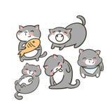 Το Doodle χαριτωμένο λίγο γατών διανυσματικό γλείψιμο χασμουρητού τροφίμων συνόλου γκρίζο βάζει το χαμόγελο διανυσματική απεικόνιση