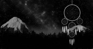 Το Dreamcatcher σε μια τρισδιάστατη απεικόνιση υποβάθρου νυχτερινού ουρανού δίνει Στοκ Εικόνες