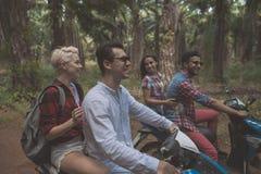 Το Drive μηχανικό δίκυκλο δύο ζεύγους στους τροπικούς δασικούς εύθυμους φίλους απολαμβάνει το οδικό ταξίδι από κοινού στοκ εικόνες