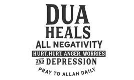 Το Dua θεραπεύει όλους την αρνητικότητα, που βλάπτονται, το θυμό, τις ανησυχίες και την κατάθλιψη προσεηθείτε στον Αλλάχ Daily απεικόνιση αποθεμάτων