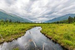 Το Eagle River ρέει στην απόσταση μεταξύ των βουνών Chugach Στοκ Εικόνες