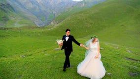 Το Enamored newlyweds περπατά το βράδυ στο λιβάδι ενάντια στο σκηνικό των όμορφων βουνών απόθεμα βίντεο