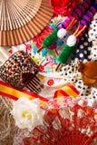 Το Espana χαρακτηριστικό από την Ισπανία με τις καστανιέτες αυξήθηκε flamenco ανεμιστήρας Στοκ Φωτογραφία