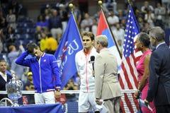 Το Federer & Djokovic ΗΠΑ ανοίγουν το 2015 (123) Στοκ Φωτογραφίες