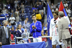 Το Federer & Djokovic ΗΠΑ ανοίγουν το 2015 (125) Στοκ εικόνα με δικαίωμα ελεύθερης χρήσης