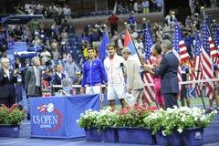Το Federer & Djokovic ΗΠΑ ανοίγουν το 2015 (122) Στοκ Εικόνα