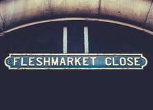Το Fleshmarket κλείνει το σημάδι Στοκ φωτογραφία με δικαίωμα ελεύθερης χρήσης