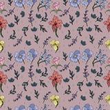 Το Floral άνευ ραφής σχέδιο με τη ορχιδέα και αυξήθηκε στο διάνυσμα Πολύ χαριτωμένος και τρομερός απεικόνιση αποθεμάτων