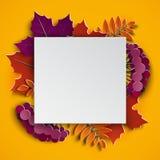 Το floral έγγραφο φθινοπώρου έκοψε τα ζωηρόχρωμα φύλλα δέντρων πλαισίων και εγγράφου στο κίτρινο υπόβαθρο Φθινοπωρινό σχέδιο για  Στοκ Εικόνα