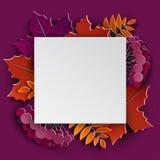 Το floral έγγραφο φθινοπώρου έκοψε τα ζωηρόχρωμα φύλλα δέντρων πλαισίων και εγγράφου στο πορφυρό υπόβαθρο Φθινοπωρινό σχέδιο για  Στοκ εικόνες με δικαίωμα ελεύθερης χρήσης