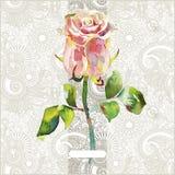 Το Floral σχέδιο με το ρόδινο watercolor αυξήθηκε ελεύθερη απεικόνιση δικαιώματος