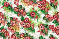 Το Floral τροπικό υπόβαθρο σε ένα δέρμα λεοπαρδάλεων ανθίζει hibiscus στοκ εικόνα με δικαίωμα ελεύθερης χρήσης