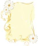 το flowery πλαίσιο διακοσμεί ορθογώνιο κίτρινο Στοκ Εικόνα