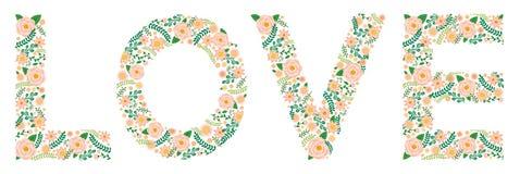 Το Flowery Word - ΑΓΑΠΗ - Peonies Στοκ Εικόνα