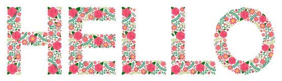 Το Flowery Word - ΓΕΙΑ ΣΟΥ - τριαντάφυλλα Στοκ Φωτογραφία