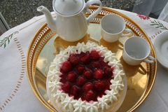 Το Gateau με τη φράουλα και την κρέμα περιμένει να εξυπηρετηθεί μαζί με ένα φλυτζάνι του ισχυρού καφέ Στοκ Εικόνα
