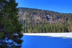 Το Grosser Arber βλέπει, χειμερινό τοπίο γύρω από Bayerisch Eisenstein, χιονοδρομικό κέντρο, Βοημίας δάσος (Šumava), Γερμανία Στοκ Φωτογραφία