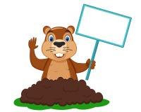 Το Groundhog συρθηκε από την τρύπα και κρατά ένα σημάδι στο πόδι του για το κείμενο διανυσματική απεικόνιση
