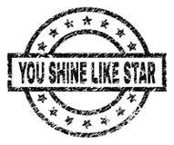 Το Grunge κατασκευασμένο ΕΣΕΙΣ ΛΑΜΠΕΙ ΟΠΩΣ τη σφραγίδα γραμματοσήμων του STAR διανυσματική απεικόνιση