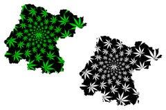 Το Guanajuato ένωσε τα μεξικάνικα κράτη, Μεξικό, ο χάρτης ομοσπονδιακών δημοκρατιών είναι σχεδιασμένο φύλλο καννάβεων πράσινο και απεικόνιση αποθεμάτων