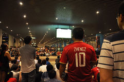 Το Guangzhou Evergrande κερδίζει AFC Champions League, αποτελέσματα έξω από το στάδιο που περιμένουν τους ανεμιστήρες παιχνιδιών Στοκ φωτογραφία με δικαίωμα ελεύθερης χρήσης