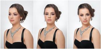 Το Hairstyle και αποτελεί - όμορφο θηλυκό πορτρέτο τέχνης με τα όμορφα μάτια κομψότητα Γνήσιο φυσικό brunette με το κόσμημα Στοκ φωτογραφία με δικαίωμα ελεύθερης χρήσης