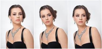 Το Hairstyle και αποτελεί - όμορφο θηλυκό πορτρέτο τέχνης με τα όμορφα μάτια κομψότητα Γνήσιο φυσικό brunette με το κόσμημα Στοκ Φωτογραφίες