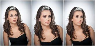 Το Hairstyle και αποτελεί - όμορφο θηλυκό πορτρέτο τέχνης με τα όμορφα μάτια Γνήσιο φυσικό brunette με το κόσμημα, πυροβολισμός σ Στοκ εικόνες με δικαίωμα ελεύθερης χρήσης