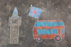 Το Hand-drawn Λονδίνο doodles έθεσε με τις ζωηρόχρωμες κιμωλίες Στοκ Φωτογραφία