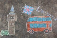 Το Hand-drawn Λονδίνο doodles έθεσε με τις ζωηρόχρωμες κιμωλίες Στοκ Φωτογραφίες