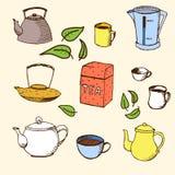 Το Handdrawn διάνυσμα έθεσε για το σχέδιό σας: τσάι Στοκ Εικόνα
